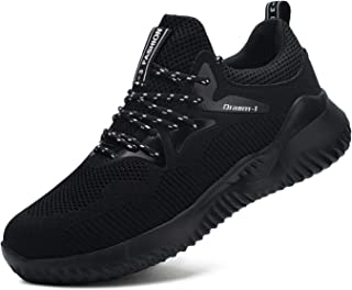 Steel Toe Shoes for Men and Women, Slip Resistant Lightweight Safety Shoes Puncture Proof Work Sneakers Breathable Slip on Indestructible Shoes