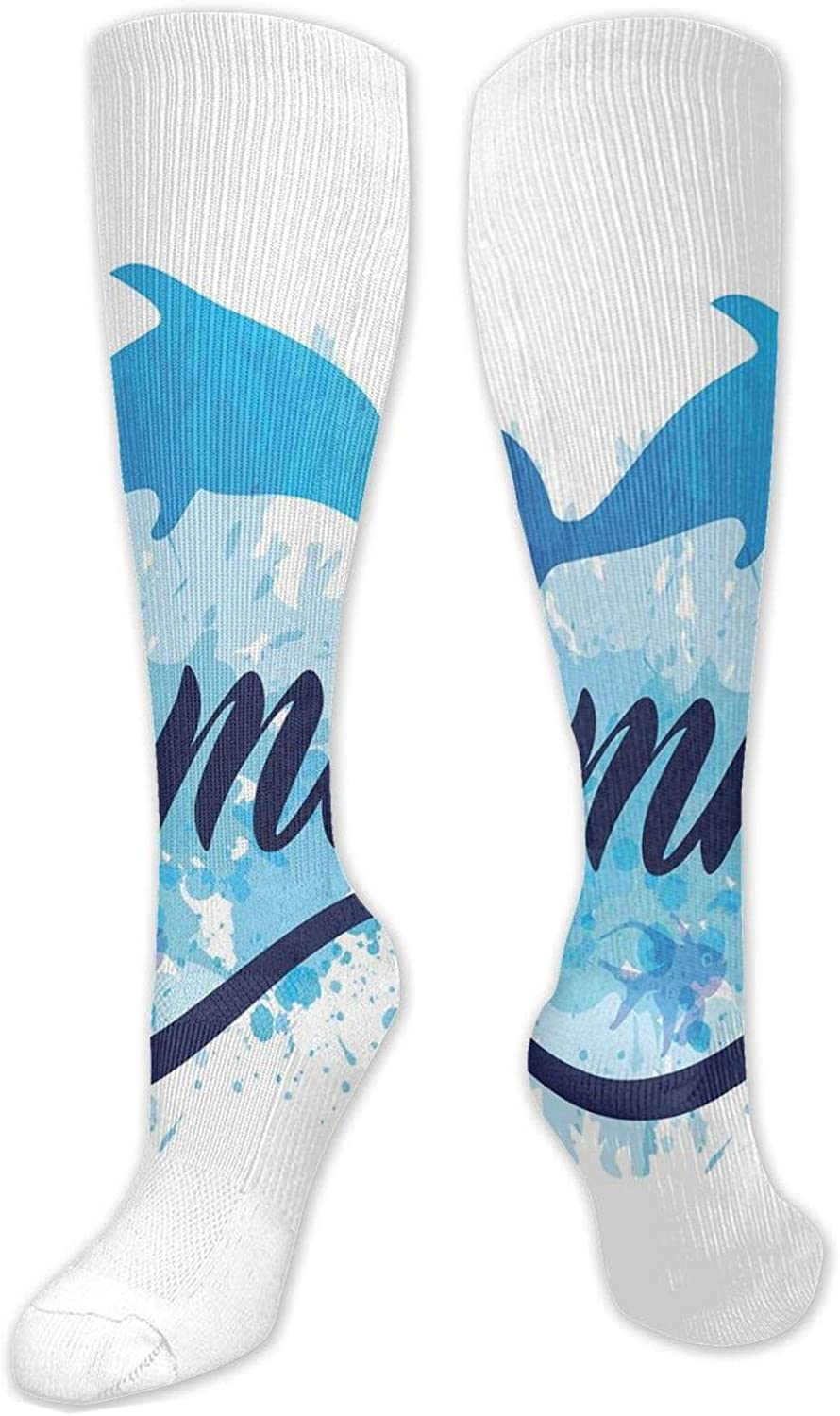 Compression High Socks Abstract Summer Bargain sale Lettering With And Fish D We OFFer at cheap prices