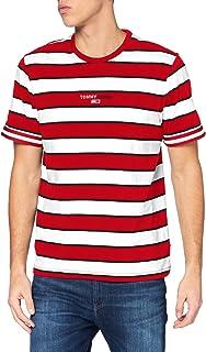 Tommy Jeans TJM Small Text Stripe tee Camisa, Carmesí Intenso, L para Hombre