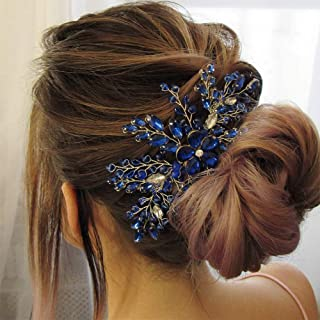 Aimimier Bridal Royal Blue Crystal Hair Comb Sapphire Hair Piece Prom Party Festival Wedding Hair Accessories for Women an...