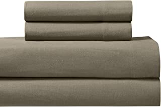 Royal Tradition Heavyweight Flannel, 100 Percent Cotton Split King 5PC Sheets Set for Adjustable Beds, Taupe, 170 GSM