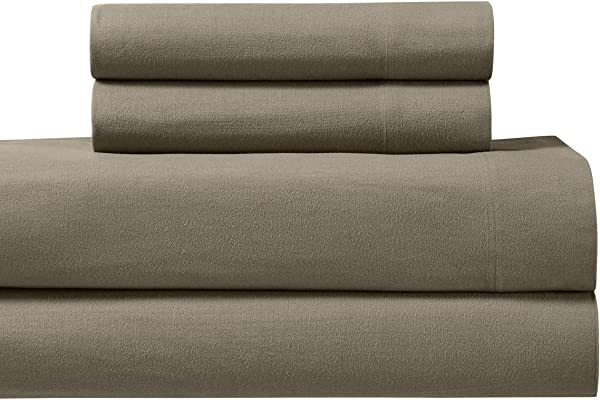 Royal Tradition Heavyweight Flannel 100 Percent Cotton Split King 5PC Sheets Set For Adjustable Beds Taupe 170 GSM