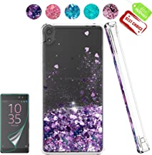 Sony Xperia E5 Case with HD Screen Protector, Atump Luxury Girls Woman Glitter Bling Soft TPU Cover with Sparkly Shiny Shockproof Protective Case for Sony Sony Xperia E5 Purple