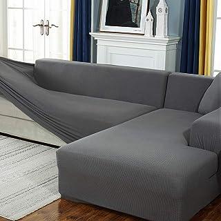 Housse de Canapé d'angle avec Accoudoirs Housse de Canapé Modèle L Canapé Protecteur Extensible(Le canapé d'angle en L Doi...
