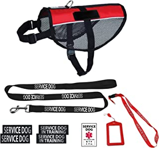 Dogline Service Dog Vest Harness Bundle Official Red Service Dog Reflective Leash & Patches Service Dog in Training Set Service Dog ADA IDs with Holder & Lanyard for Travel Support Therapy Dogs