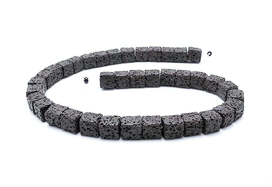 Square Smooth Lava Stone Loose Beads - Coloured Lava Rock Beads Volcanic Gemstone for DIY Handmade Jewelry Making Bracelet Earring Necklace (Black, 8mm)