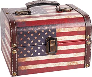 WaaHome Decorative Wooden Treasure Chest Vintage American Flag Jewelry Keepsake Boxes for Gifts Home Decorations (7.1''LX5.6'W'X4.7''H)