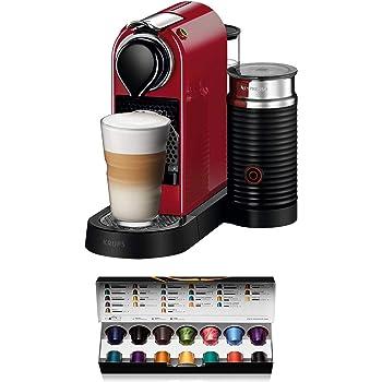Nespresso Krups Citiz XN7605 - Cafetera monodosis de cápsulas Nespresso con aeroccino, compacta, 19 bares, apagado automático, color granate: Amazon.es: Hogar