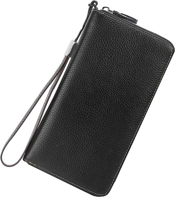Women's RFID Blocking Leather Zip Around Wallet Large Phone Holder Clutch Travel Purse Wristlet