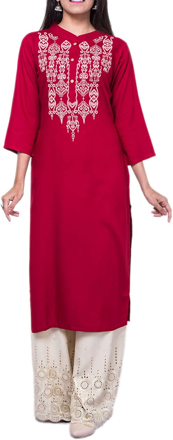 ladyline Minneapolis Mall Womens Plain Embroidered Rayon Sales for sale Tunic Top Ku 4 3 Sleeves