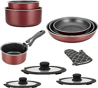 set de cuisine de 5 /él/éments /« sp/écial cuisson /» avec po/êles rev/êtement marbre et poign/ée amovible HG-8052 lot de casserole induction set casserole et poele tous feux Batterie de cuisine