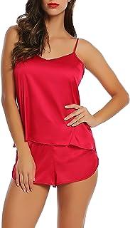 Joyaria Womens Satin Pajama Cami Set Sexy Lingerie Sleepwwear Silk Nighty