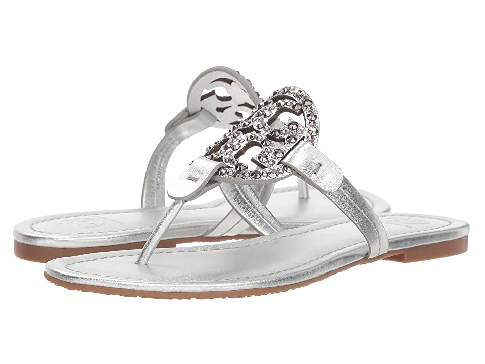 Tory Burch Miller Embellished Sandal (Gray/Silver) Women