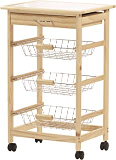 Rolling Wooden Kitchen Storage Utility Cart on Wheels 4-Tier Wire Produce Baskets Tile Top, Natural Pine with White Tile