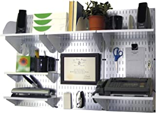 Wall Control Office Organizer Unit Wall Mounted Office Desk Storage and Organization Kit Metallic Wall Panels and White Accessories