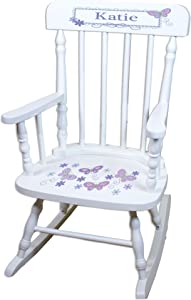 MyBambino Personalized White Childrens Rocking Chair with Lavender Butterflies Design