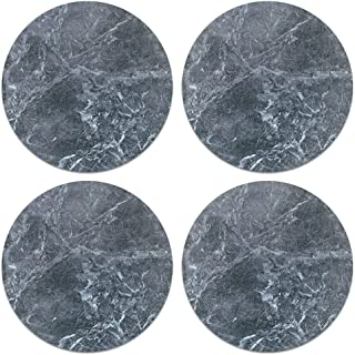 CARIBOU Coasters, Royal Gray Marble Design Absorbent ROUND Fabric Felt Neoprene Coasters for Drinks, 4pcs Set