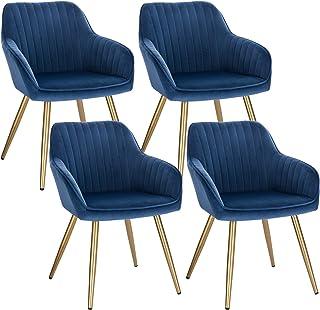 Lestarain 4X Sillas de Comedor Dining Chairs Sillas Tapizadas Paquete de 4 Sillas Cocina Nórdicas Terciopelo Sillas Bar Metal Silla de Oficina Azul