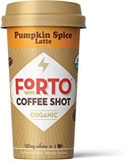 FORTO Coffee Shots - 100mg Caffeine, Pumpkin Spice, LIMITED BATCH, Colombian cold brew in a ready-to-drink 2-ounce shot for a fast coffee energy boost, 6 pack…