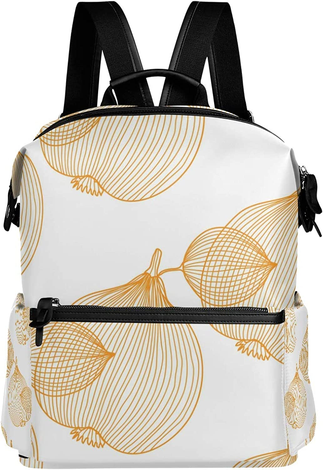 MONTOJ Yellow Hollow Out Onion Leather Travel Bag Campus Backpack