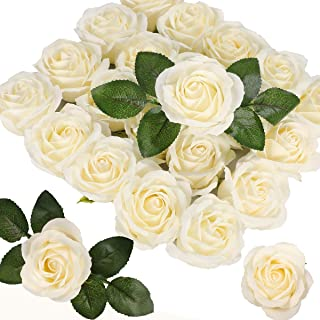Gigiana Artificial Flowers 50pcs Extremely Real Looking and Real Touch Silk Roses   Ivory Bulk Fake Roses w/Stem for DIY Wedding Decorations Centerpieces Bouquets Bridal Shower Party Floral Home