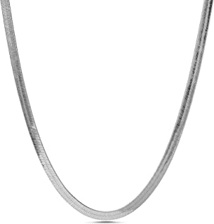 Nautica 6mm 20 Inch Snake Chain Necklace for Men or Women in Rhodium Plated Brass