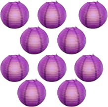 Reiki Crystal Products Lantern Paper Lamp Paper Ball Lamp Shade 12 Inch Paper Lamp for Decoration at Diwali Party Birthday Colors Purple Pack of 10 pc