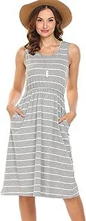 Hount Women's Summer Sleeveless Striped Empire Waist Loose Midi Casual Dress with Pockets