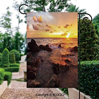 SCOCICI Seasonal Garden Flags 12x18 inch Small Holiday Yard Flags - Sunrise on The Beach Colorful Clouds Stones Exotic Journey Tranquil Scenic Pictu Double Sided Design for All Seasons and Holidays