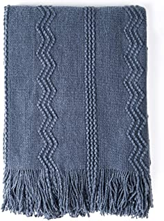 BOURINA Textured Solid Soft Sofa Throw Couch Cover Knitted Decorative Blanket, Navy, 60