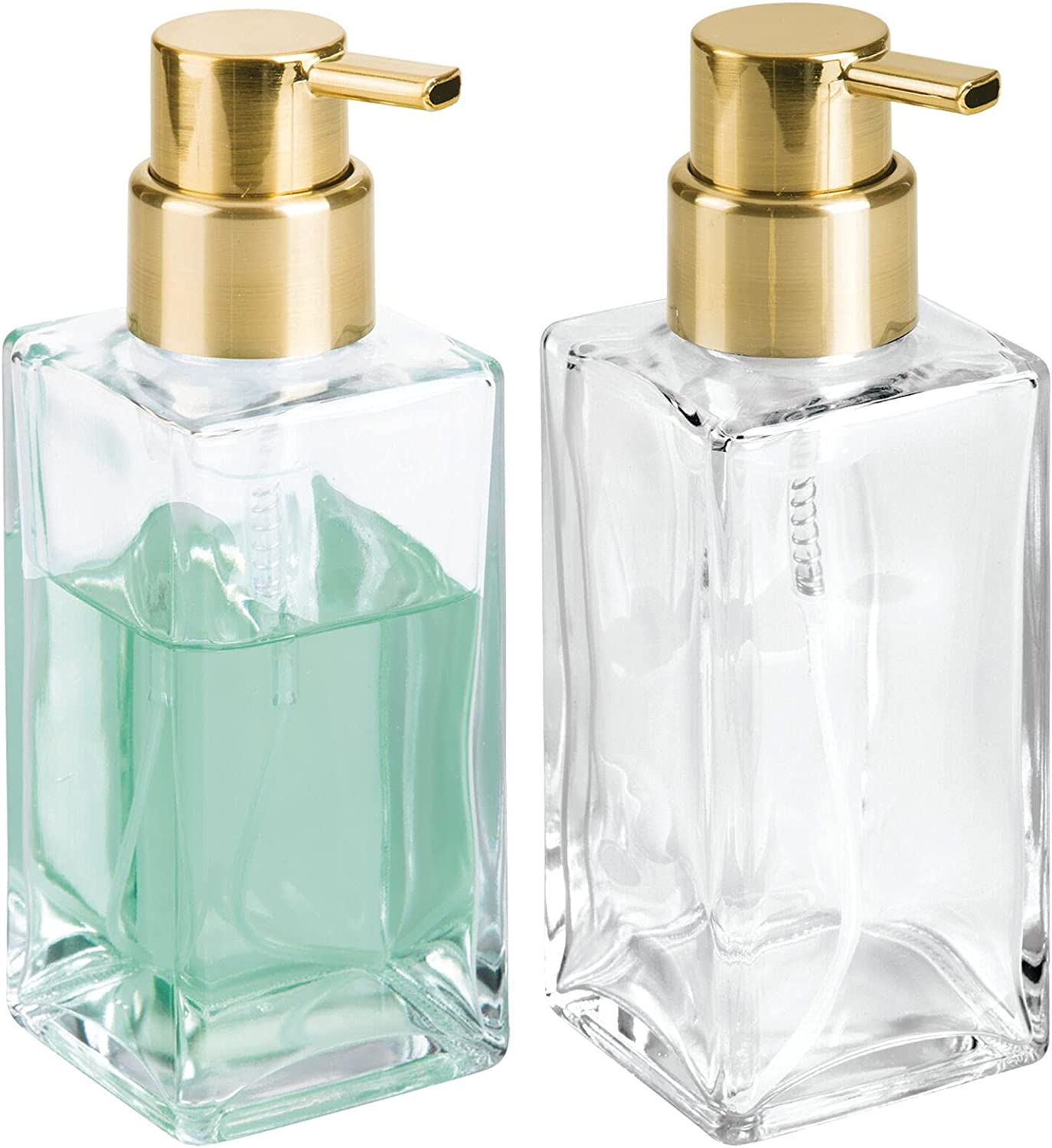 mDesign Modern Square Glass Refillable Foaming Hand Max 50% OFF Soap Dispens Factory outlet