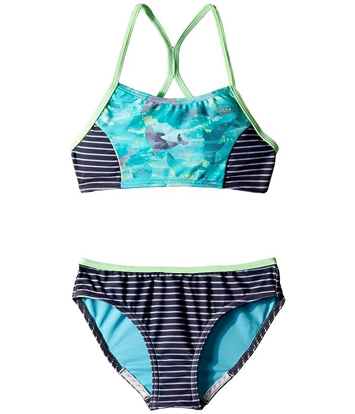 Speedo Kids  Diamond Geo Splice Two-Piece Swimsuit (Big Kids) (New Turquoise) Girls Swimsuits One Piece