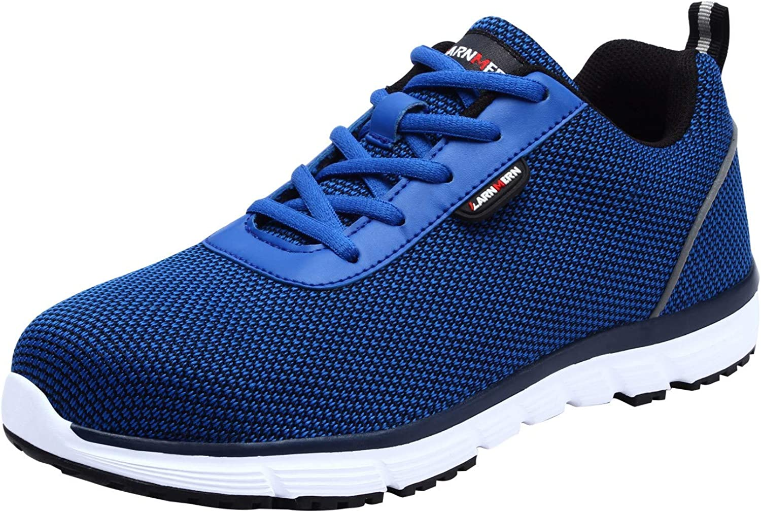 LARNMERN Steel Toe Work Safety shoes Men Reflective Casual Breathable Outdoor Sneakers, LM30K (8, Royal bluee)