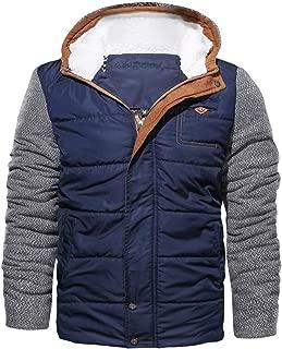 Men Parka Jacket Down Coat Zip Hoodie Patchwork Sweatshirt Overcoat Outwear