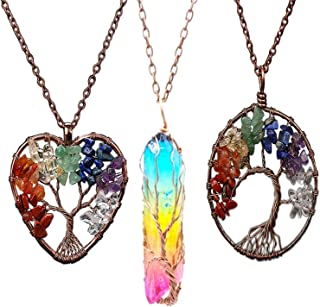 7 Chakra Tree of Life Wire Wrapped Crystal Beads Pendant Necklace Love Heart Pointed Hexagonal Reiki Healing Quartz Natura...