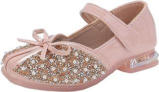 Zapatos Mary Jane para niñas Zapatos de Princesa de Cuero con Suela Suave de Punta Redonda de Color sólido Zapatos de Bail...