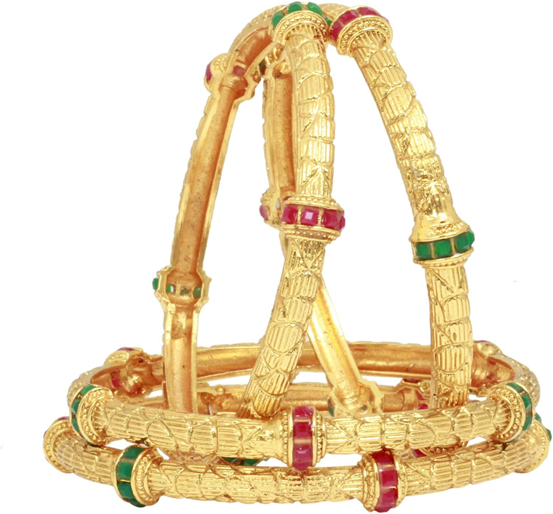 Sukh Collection Jewellery Indian Bollywood Ethnic Multi Stone Crystal Bangle Bracelet Set Traditional Partywear Kada Bangle Set Wedding Costume Jewelry