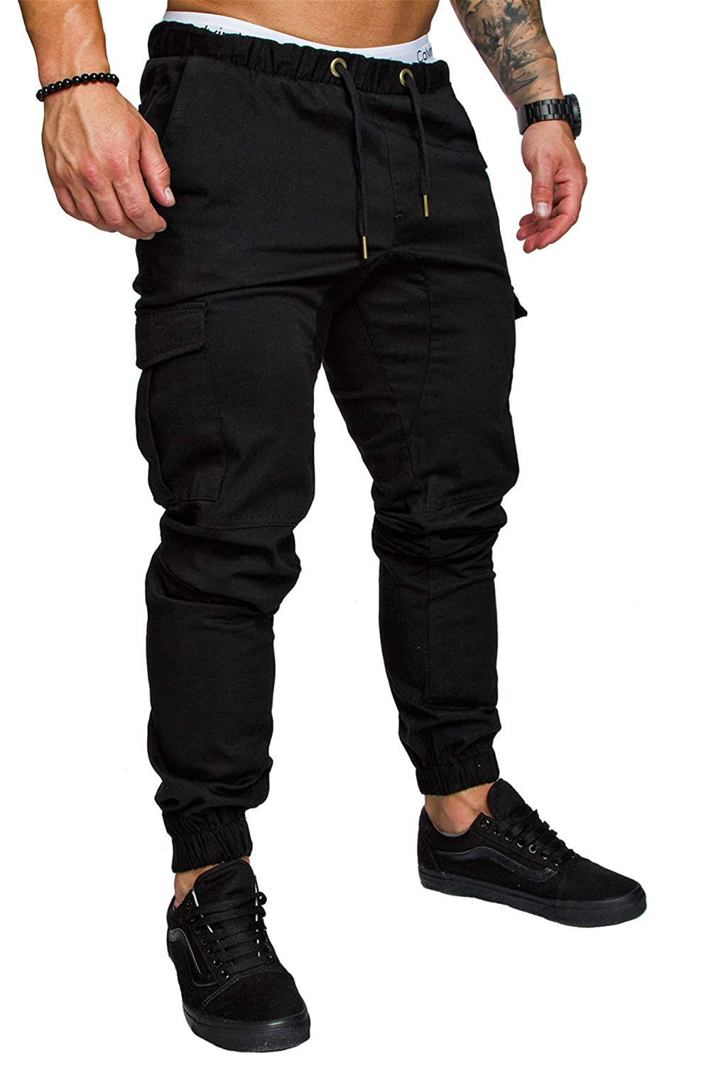 Men's Casual Pants Slim Fit Drawstring Jogger Pant Chino Trousers Sweatpants with Pockets (XX-Large,Black)