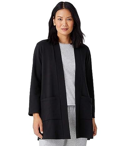 Eileen Fisher Tencel Organic Cotton Fleece High Collar Long Jacket