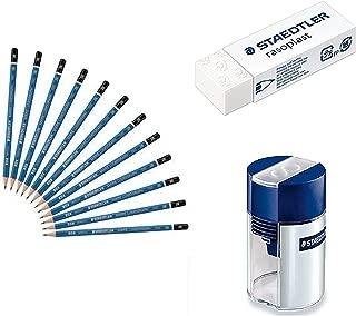 8B Staedtler Mars Lumograph Wooden Pencils with Staedter Tub Sharpener and Rasoplast Eraser