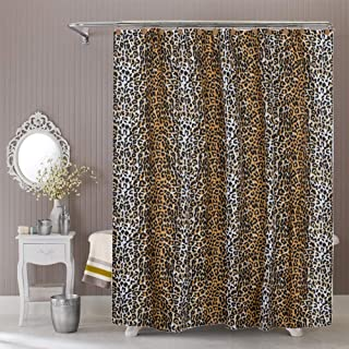 ROYACOR Fabric Shower Curtain with 12 Polyresin Hooks, Water-Repellent Rustproof Bath Curtain, 72x72 Non Toxic 100% Durable Polyester Shower Curtain Liner, Machine Washable,Easy to Install-Leopard