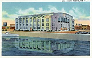 Rock Island, Illinois - Exterior View of the New Armory (36x54 Giclee Gallery Print, Wall Decor Travel Poster)