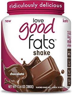 Love Good Fats - Chocolate Milkshake Keto Grass Fed Protein Powder with Mct Oil - Gluten-Free & Low Carb - Promotes Weight Loss & Suppresses Appetite Perfect for Ketogenic Diets - 10 Servings