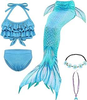 Cotrio Conjunto de Biquíni Menina Sereia 3 Peças Fato de banho com babados de cauda de sereia para cosplay de natação