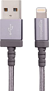 AmazonBasics Nylon Braided USB A to Lightning Compatible Cable - Apple MFi Certified - Dark Grey (6 Feet/1.8 Meter)