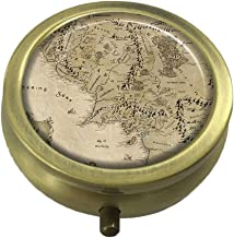 MaXing Lord Of The Rings Map Custom Personalized Bronze Round Pill box Decorative Metal Medicine Container Case
