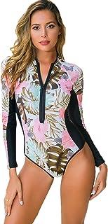 Milumia Women Boho UPF 50+ Rash Guard Long Sleeve One Piece Swimsuits Floral Print Zipper Surfing Wetsuit Swimwear