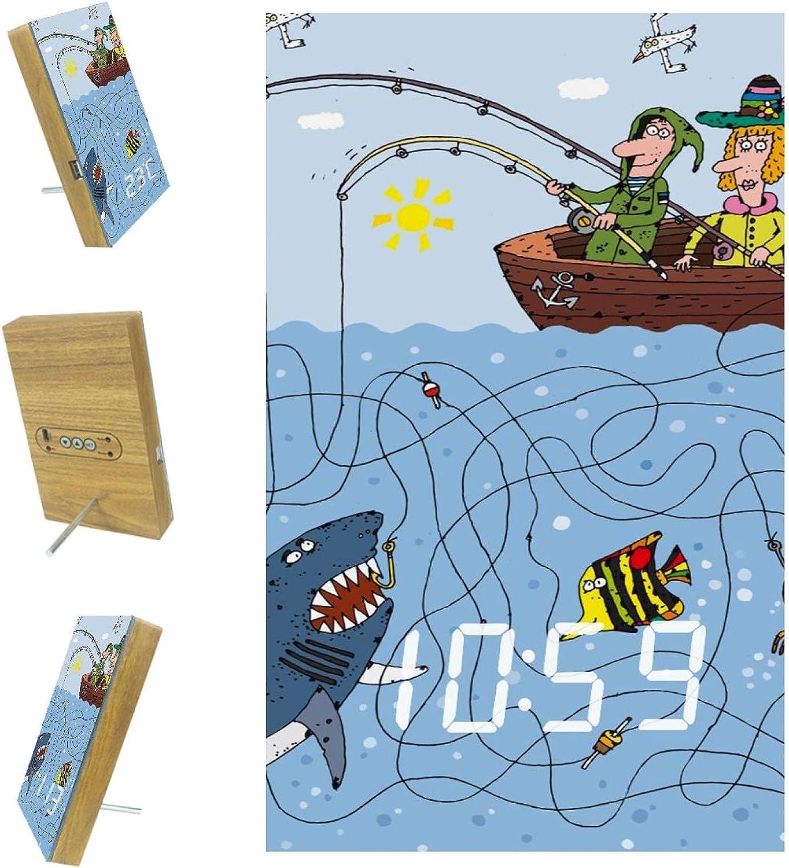 imobaby Alarm Clock Hand Drawn LED Fishing with US Digital Max shipfree 52% OFF