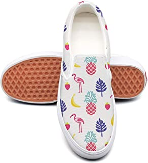 Vosda Flamingo and Pineapple Fruits Classic Women Canvas Slip-Ons Loafer Shoes Sneaker