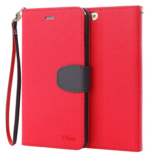 iPhone SE Case, IPHOX iPhone 5S Leather Case, [Red] SE & 5S & 5 Flip Wallet Cover with [Kickstand][Hand Strap][Card Slots] [Magnetic Closure] Notebook Cover Case for iPhone SE & 5S & 5,CP